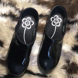 Sanita Black Patent Leather Clogs